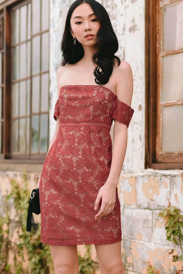 SIMONE CROCHET DRESS IN TERRA ROSE