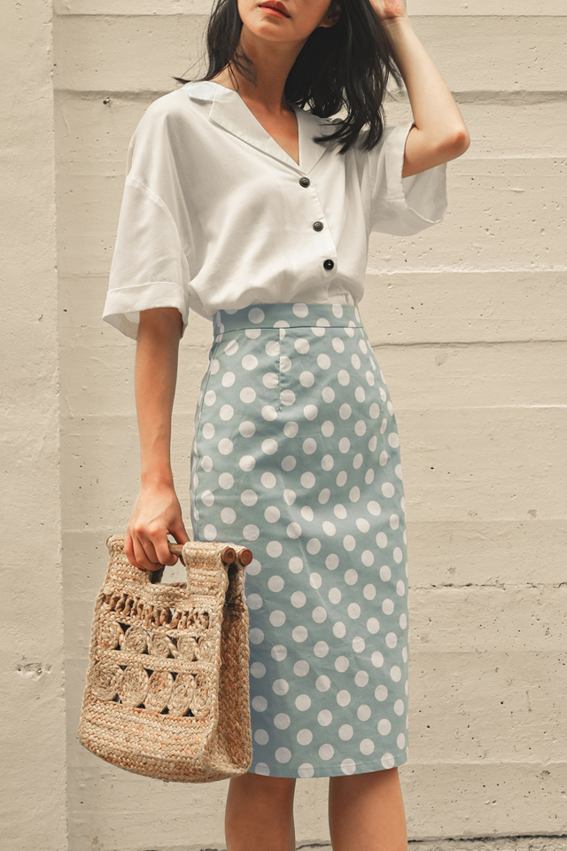 TODD POLKA DOT SKIRT IN POWDER BLUE