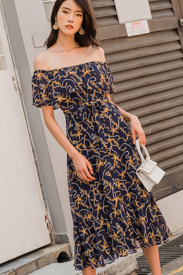 ANISE OFF SHOULDER MIDI IN NAVY