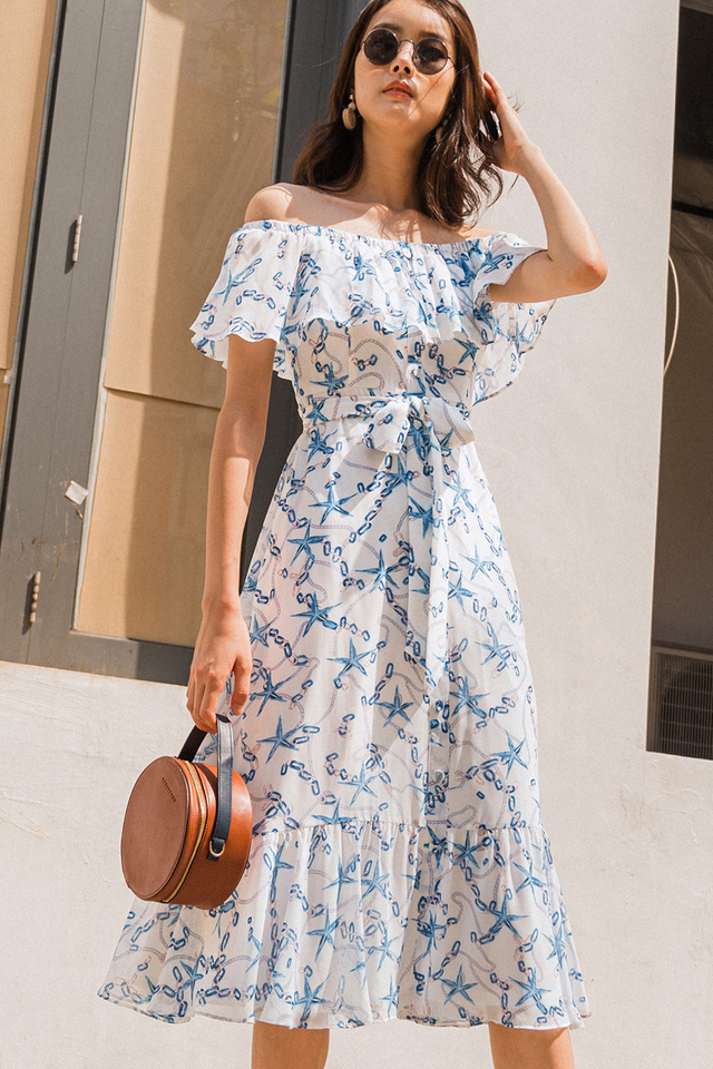 ANISE OFF SHOULDER MIDI IN WHITE