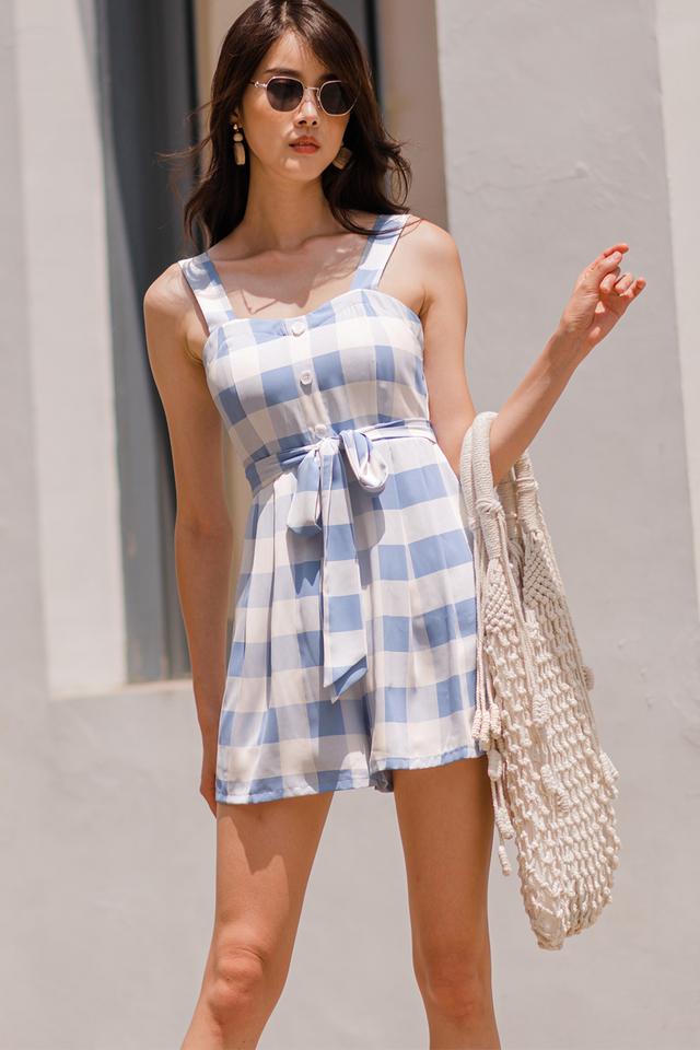 NELLY CHECKS PLAYSUIT IN PERIWINKLE BLUE