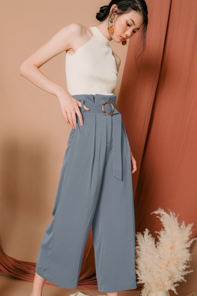 ALESSIA PAPERBAG PANTS IN ASH BLUE