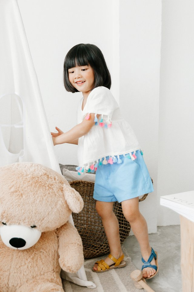 *KIDS* BOW SHORTS IN BLUE