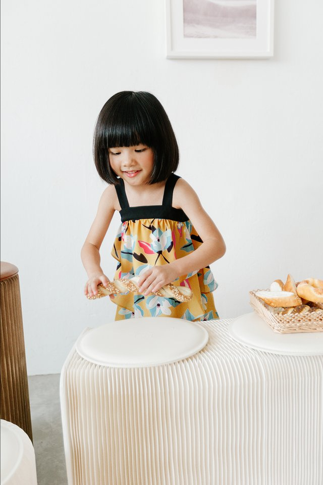 *KIDS* KYLO TIERED DRESS IN MUSTARD