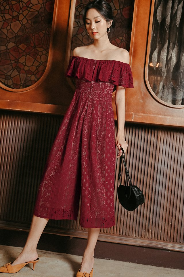 KATEN LACE JUMPSUIT IN WINE