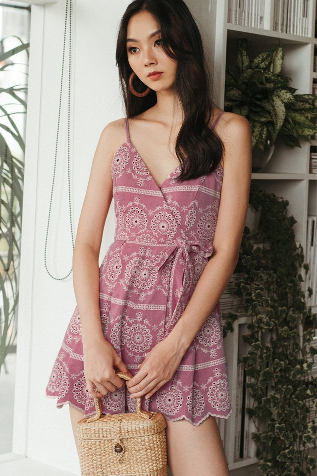 KEIRO EMBROIDERY PLAYSUIT IN WINE
