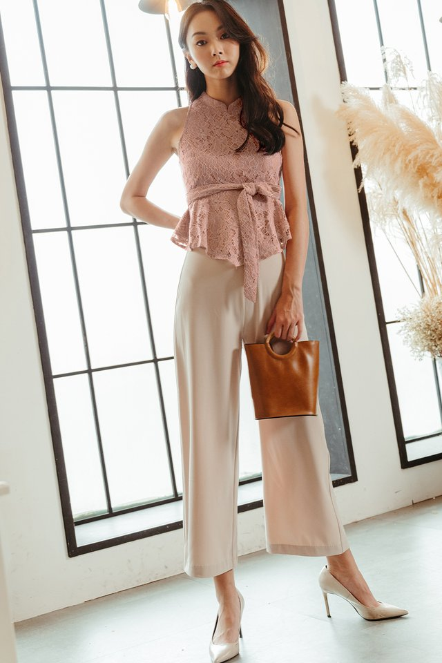 WILLOW LACE PEPLUM IN PINK
