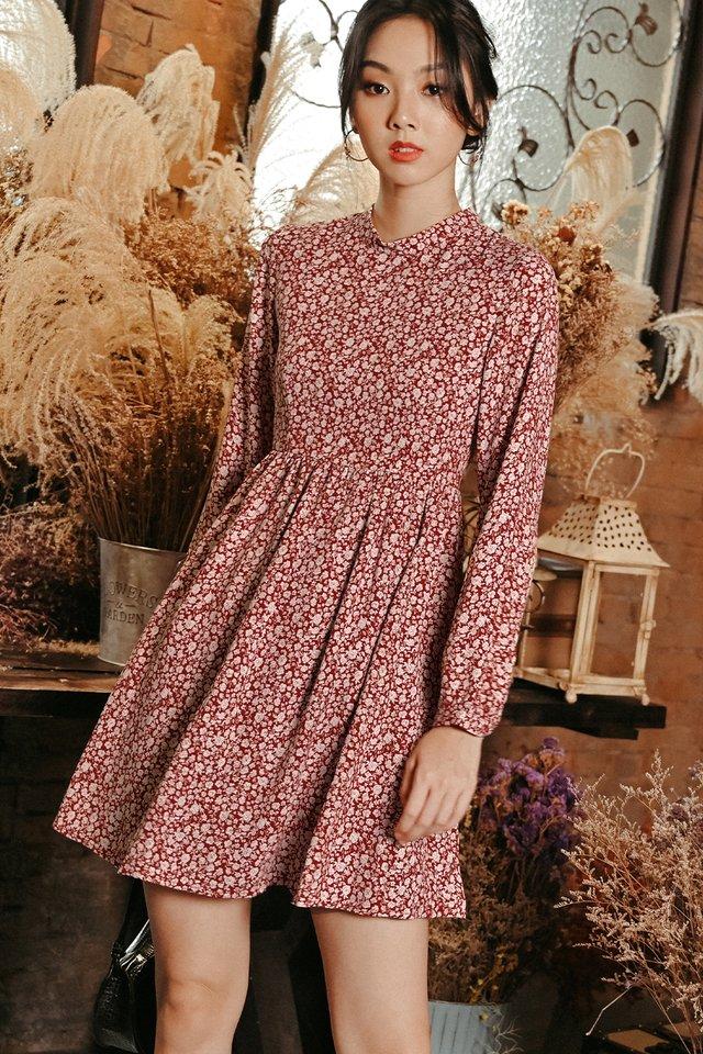 ZENITH BABYDOLL DRESS IN WINE RED