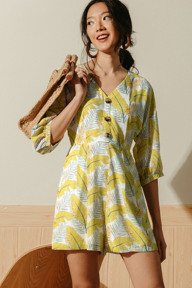 BOTANY BUTTON PLAYSUIT IN MUSTARD