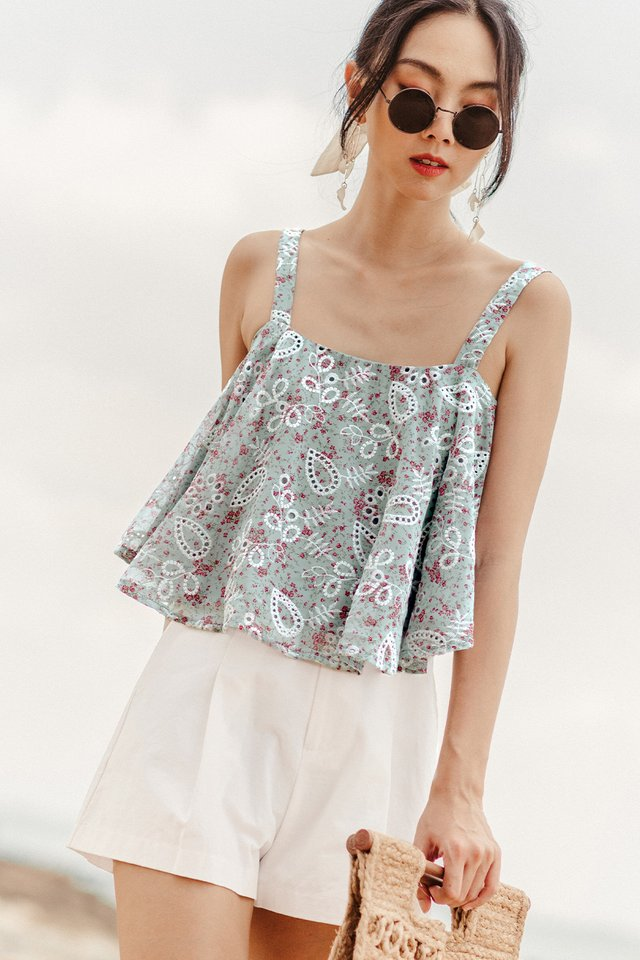 AIRA BABYDOLL TOP IN MOONSTONE