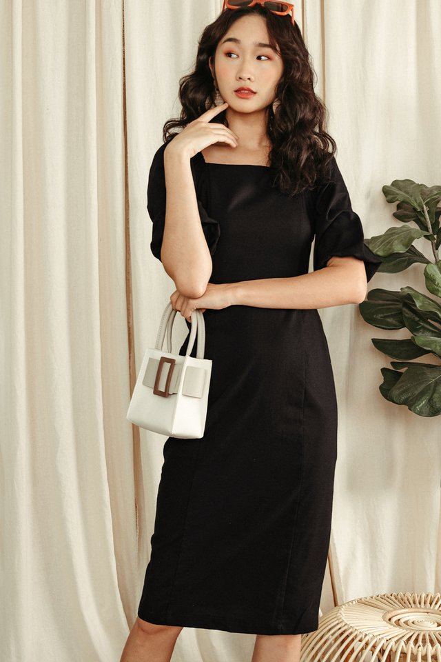 ISSA SHEATH MIDI IN BLACK