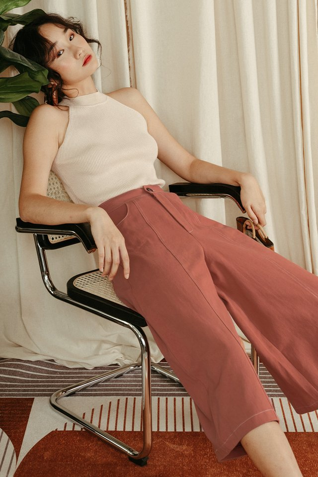 ISSEY CONTRAST STITCH PANTS IN ROSE BROWN