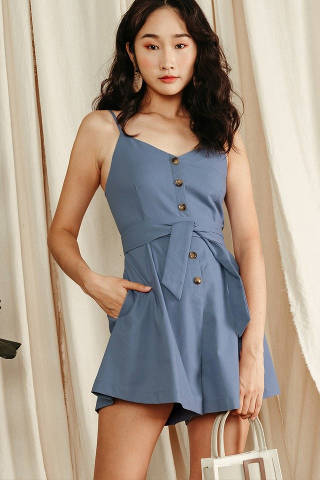 NATALIE BUTTON PLAYSUIT IN BLUE