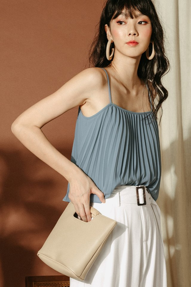*RESTOCKED* AUDELIA PLEAT TOP IN ASH BLUE