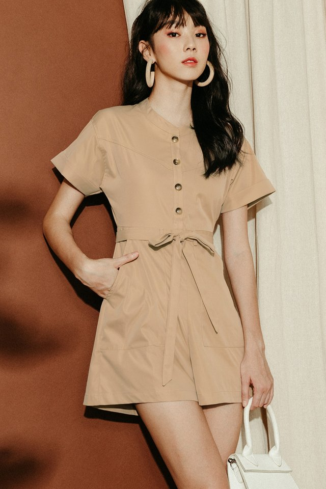 CALLEN PLAYSUIT IN KHAKI BEIGE