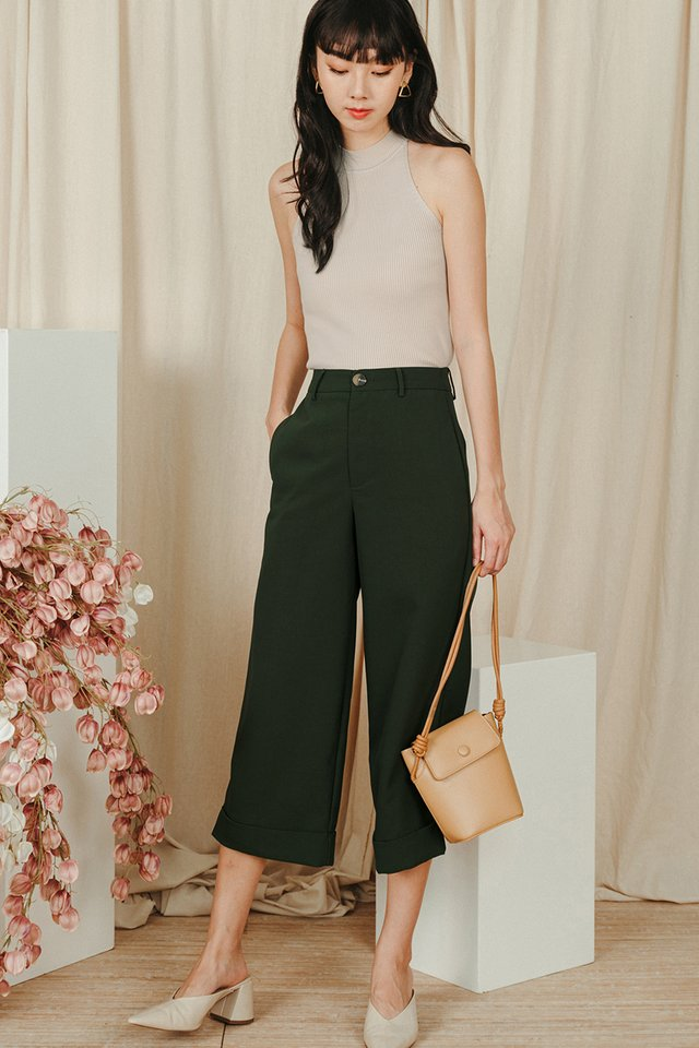 *RESTOCKED* KYNA CUFFED CULOTTES IN DEEP OLIVE