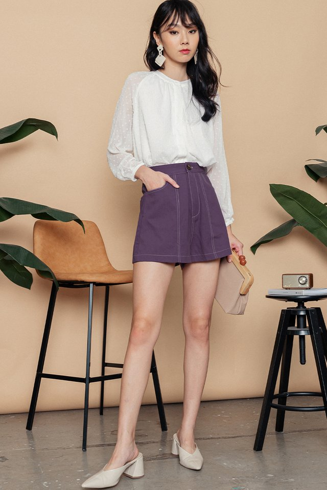 ISSEY CONTRAST STITCH SHORTS IN DUSK LAVENDER