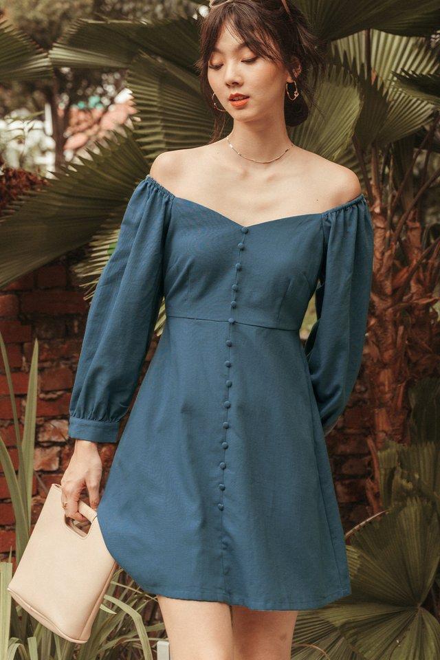 BRADLEY LINEN DRESS IN BLUE