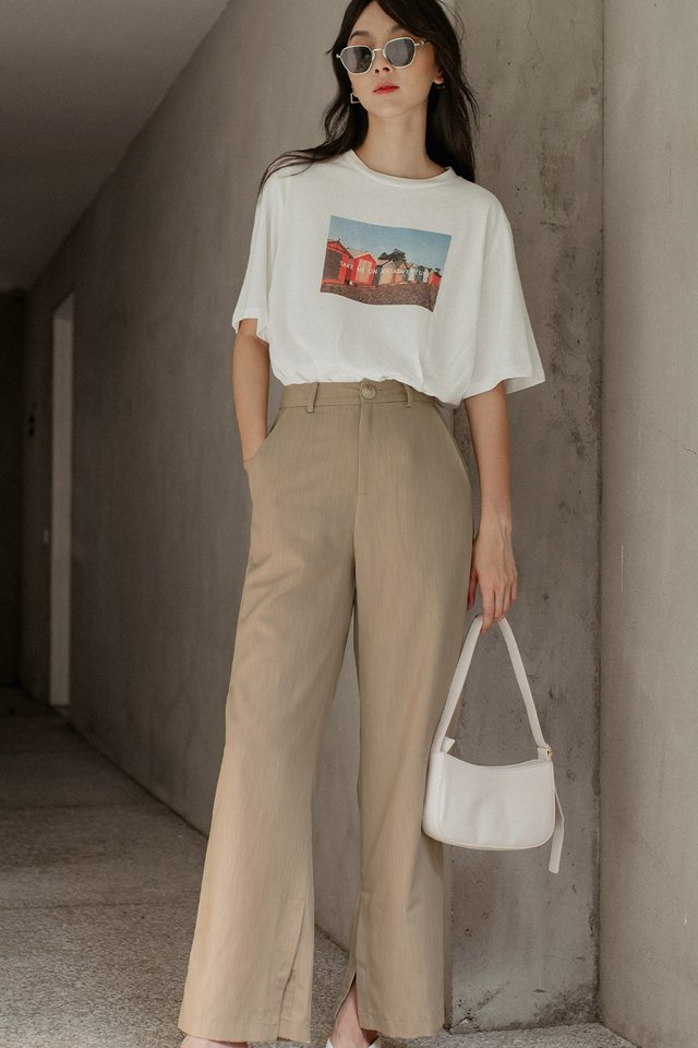 LAYLA SLIT PANTS IN SAND