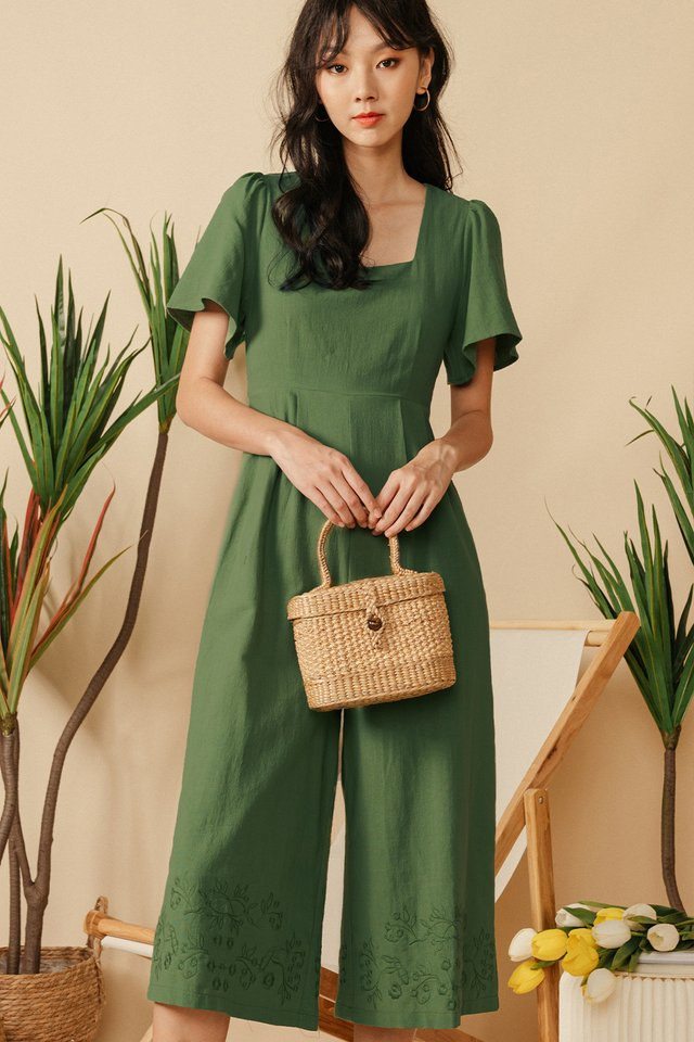 NILO EMBROIDERY JUMPSUIT IN OLIVE