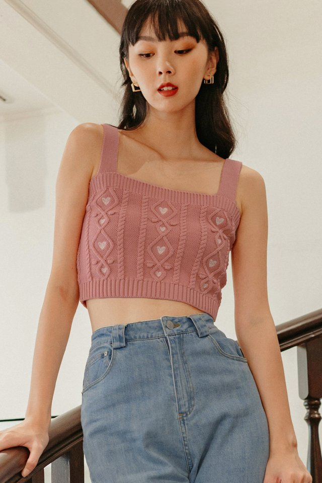 AGGY KNIT TOP IN PINK