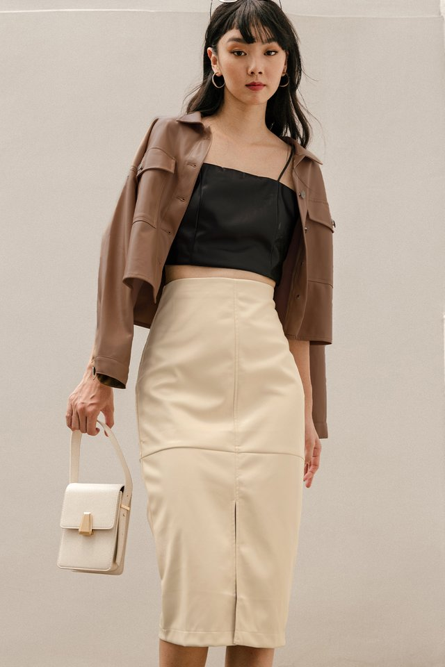 BREA LEATHER SKIRT IN CREAM