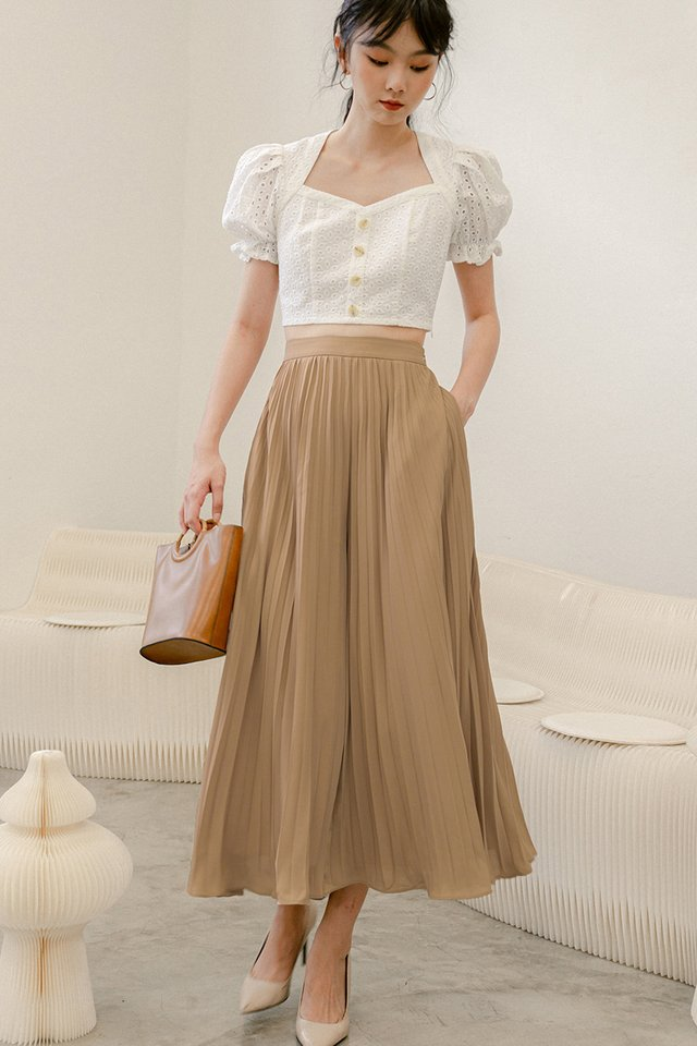 *BACKORDER* AUDELIA PLEAT PANTS IN LATTE