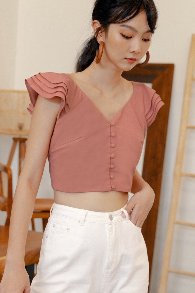 GAIL RUFFLE TOP IN MELON