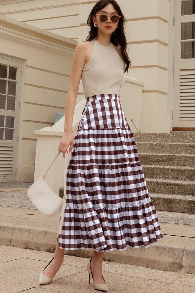 CALLEE GINGHAM MAXI IN CHOCOLATE