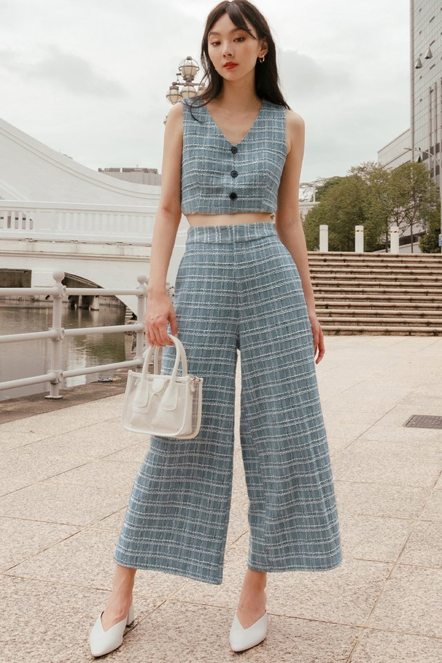NOVA TWEED PANTS IN ASH BLUE