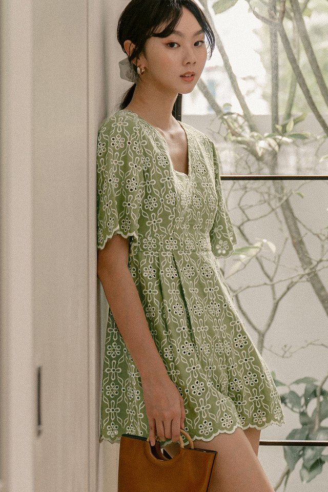 ATHENS EYELET PLAYSUIT IN PISTACHIO