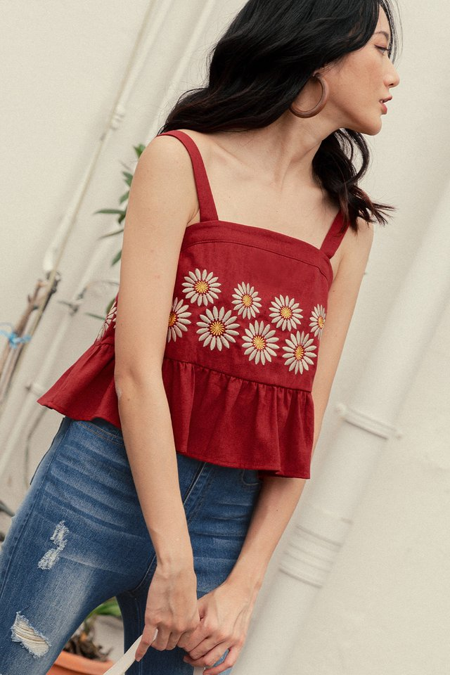 *RESTOCKED* DAISIES EMBROIDERY TOP IN ROSE RED