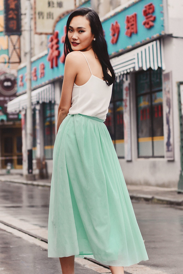 *BRIDGE* OPERA TULLE MAXI IN APPLE MINT