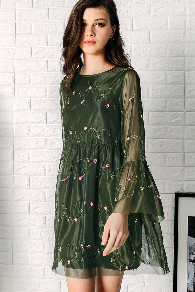 ADDERLEY ORGANZA BABYDOLL DRESS IN MILITARY