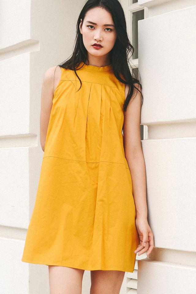 STRASBOURG SHIRT DRESS IN MUSTARD