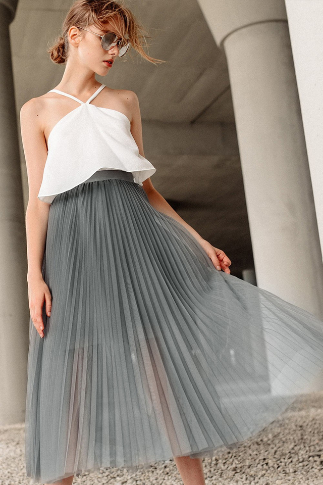 WAVERLEY PLEATED TULLE MAXI IN GREY