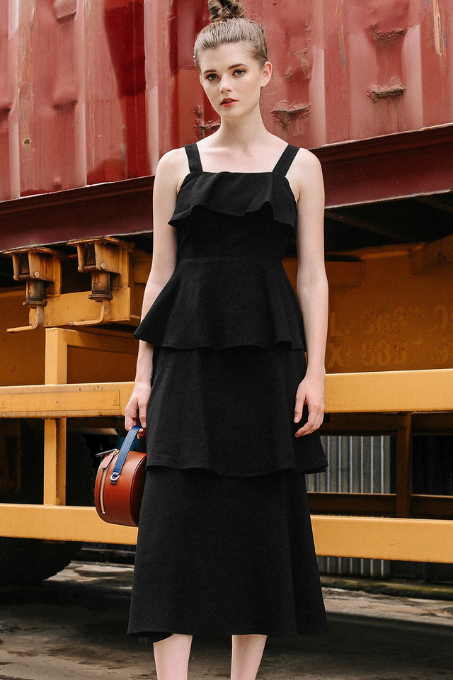 ABBEY TIERED MAXI IN BLACK