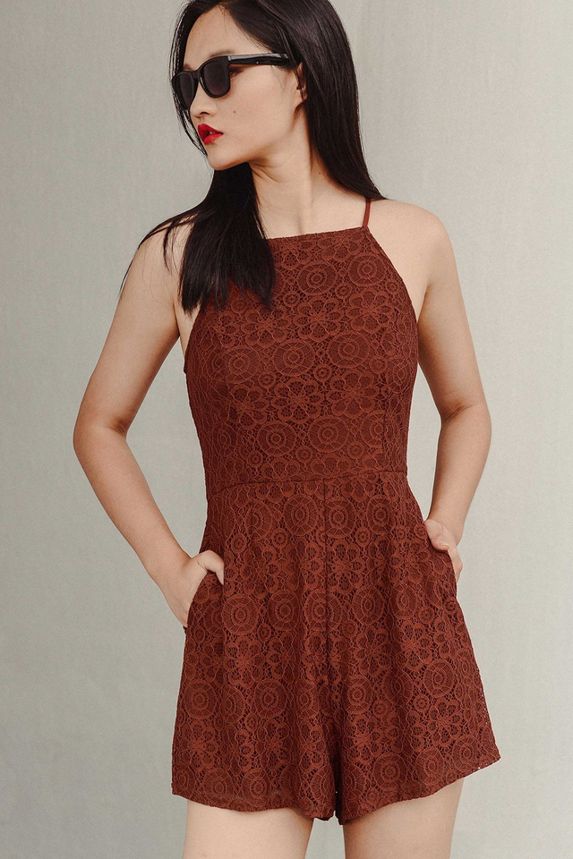 ALDRIC LACE PLAYSUIT IN BROWN