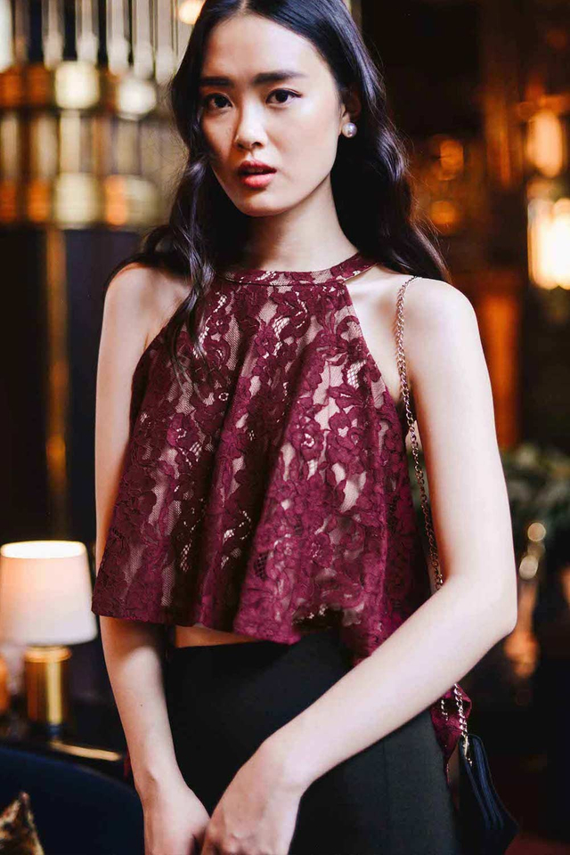 GARCIA LACE TOP IN WINE