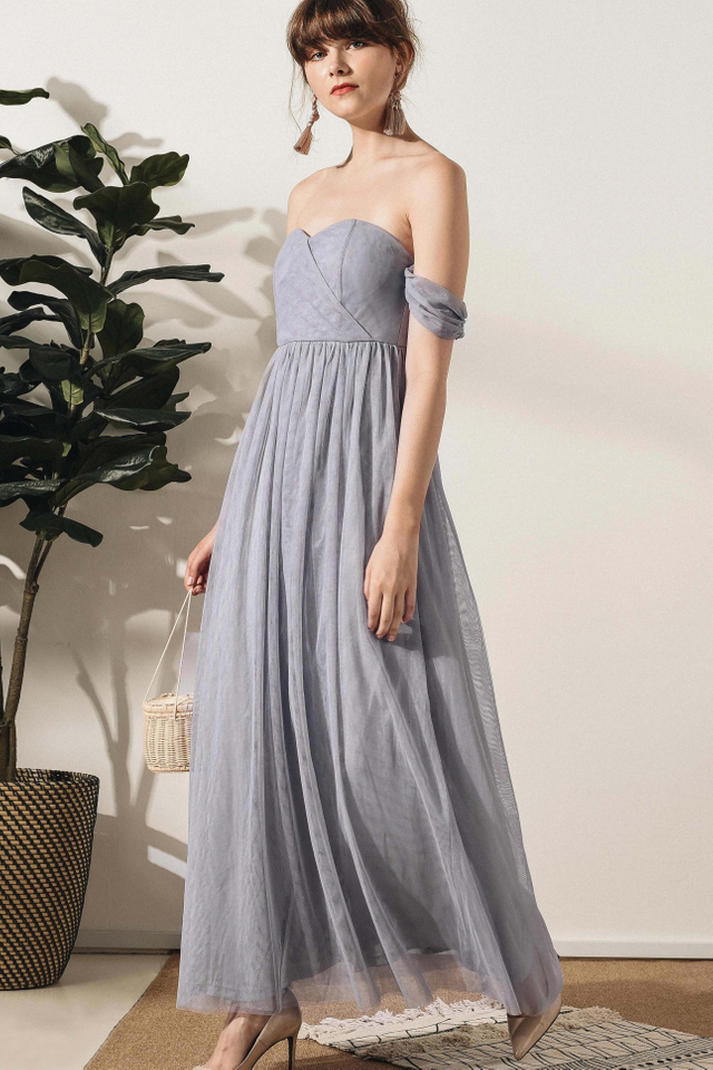DUCHESS TULLE MAXI IN LAVENDER GREY