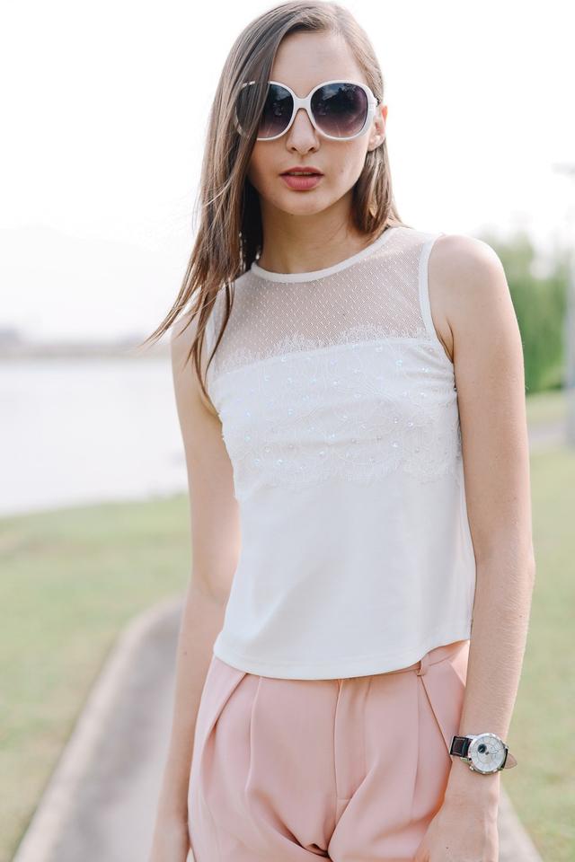 *BRIDGE* Sequin Lace Top in White
