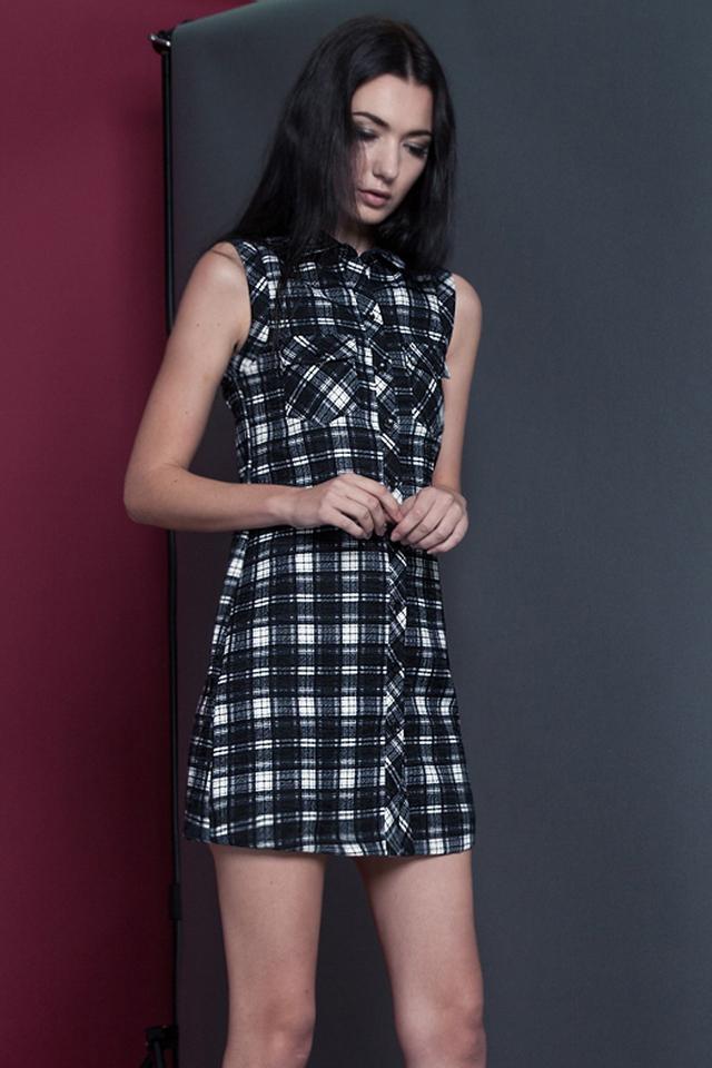 *BRIDGE* Plaid Pocket Dress in Monochrome