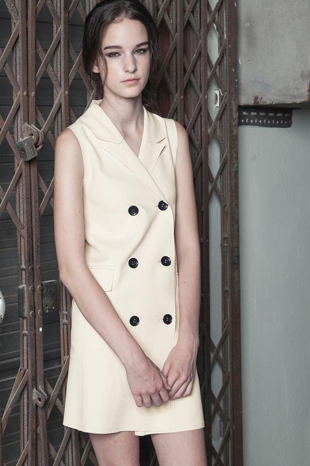 *BRIDGE* Double Breasted Waistcoat in Cream