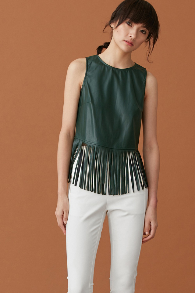*BRIDGE* Leather Fringe Top in Forest