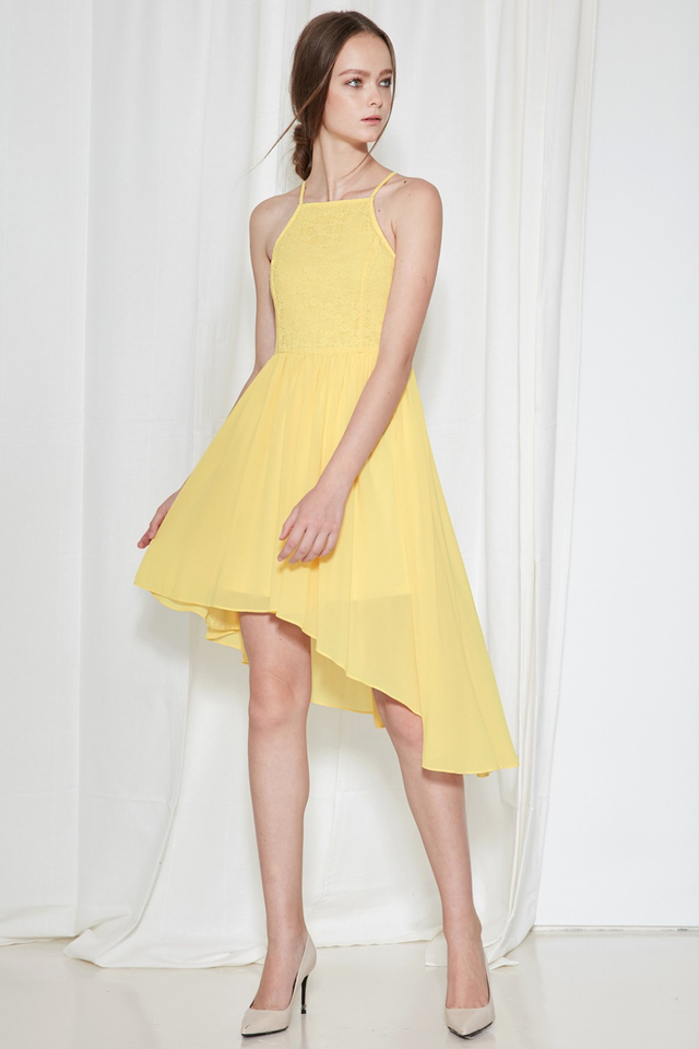 *BRIDGE* Cherish Lace Dress in Pastel Yellow