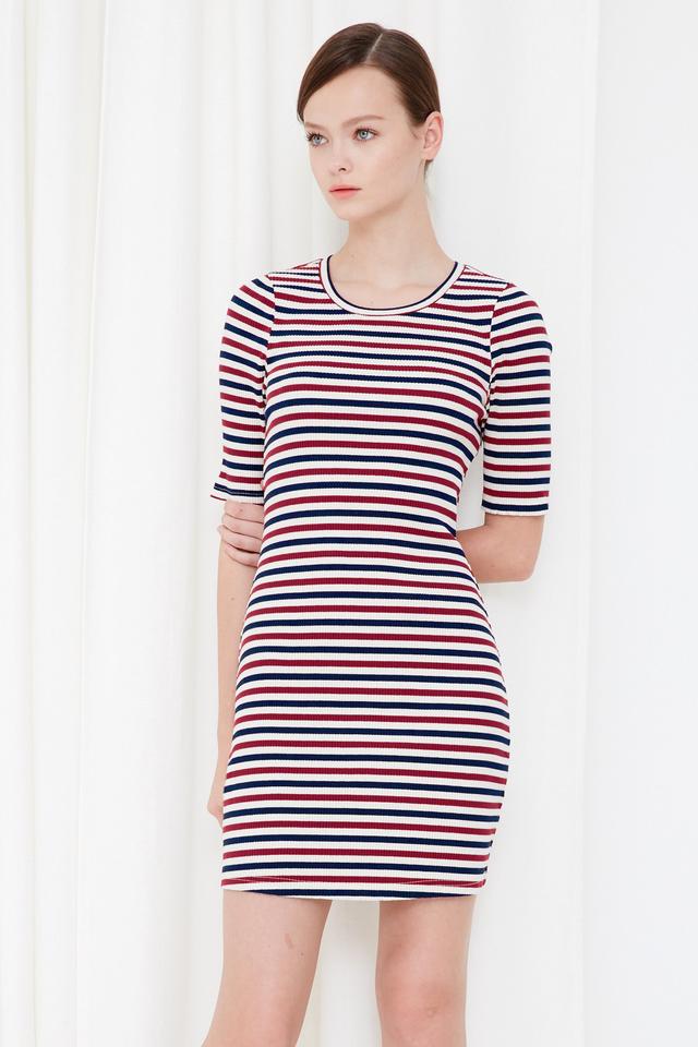 *BRIDGE* Yacht Knitted Dress in Fuchsia Navy
